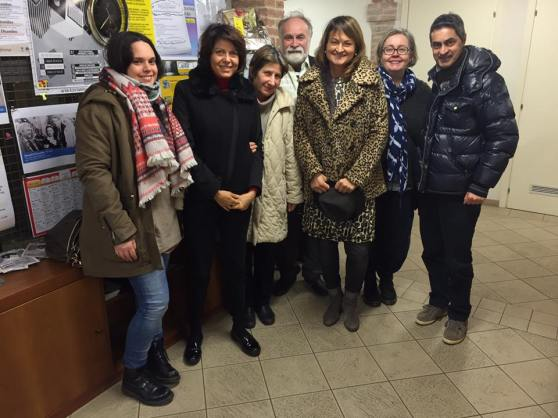 Participants at Barbara Calzolari's workshop on Engrosser script, Centro Sociale Giorgio Costa, Bologna, 6/12/15.