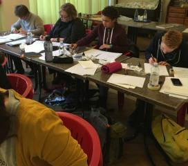 Barbara Calzolari's Spencerian workshop, Centro Sociale Giorgio Costa, Bologna, April 2–3, 2016.