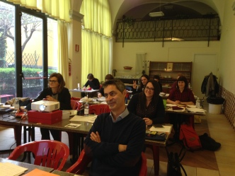 Participants at Barbara Calzolari's Spencerian workshop, Centro Sociale Giorgio Costa, Bologna, 3 April 2016 (photo: Miriam Jones).