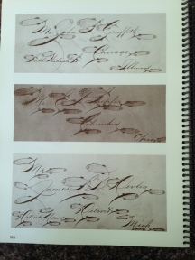 Examples of addresses from American calligrapher Michael Sull's definitive work on Spencerian calligraphy, Barbara Calzolari's Spencerian workshop, Centro Sociale Giorgio Costa, Bologna, April 2–3, 2016 (photo: Miriam Jones).