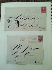 Examples of envelopes from American calligrapher Michael Sull's definitive work on Spencerian calligraphy, Barbara Calzolari's Spencerian workshop, Centro Sociale Giorgio Costa, Bologna, April 2–3, 2016 (photo: Miriam Jones).